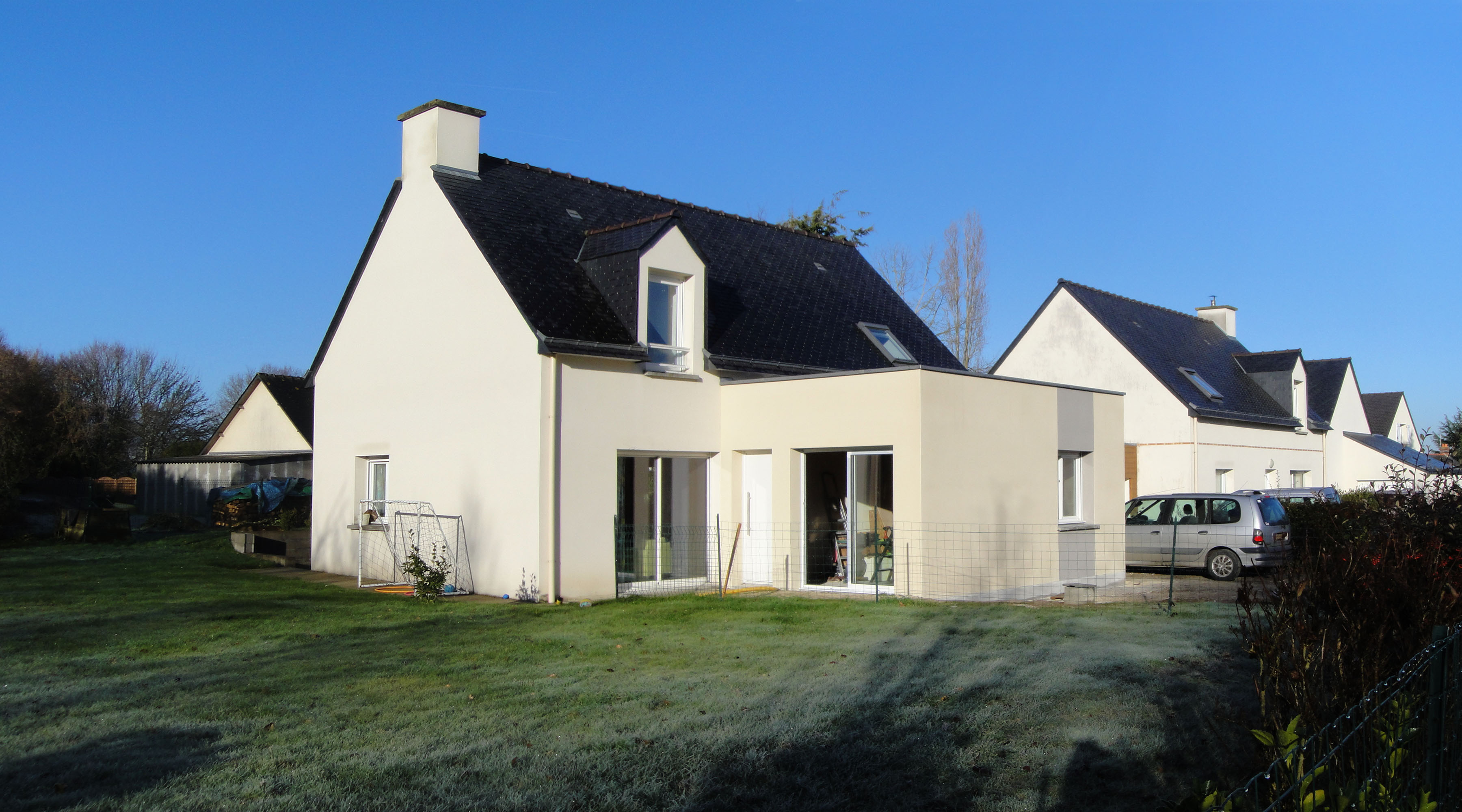 Projet c c 1 2 vue architecte lise roturier rennes for Extension maison en dur
