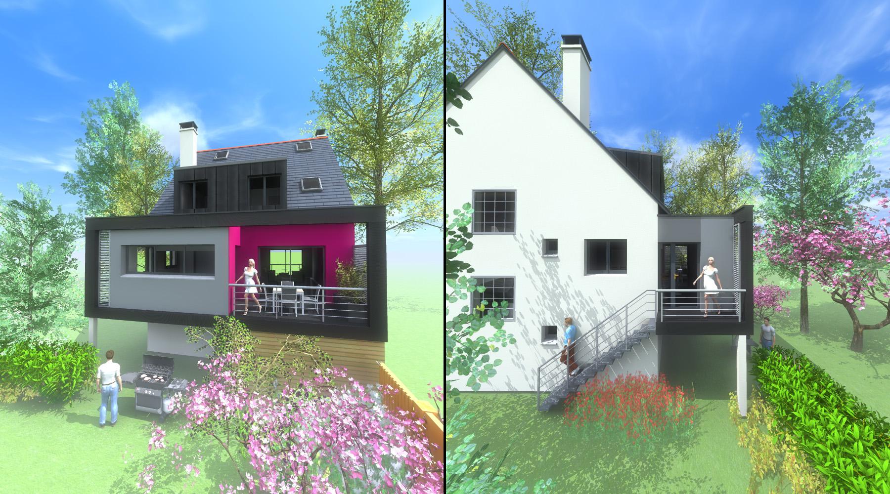 Projet r 1 2 vue architecte lise roturier rennes for Projet extension