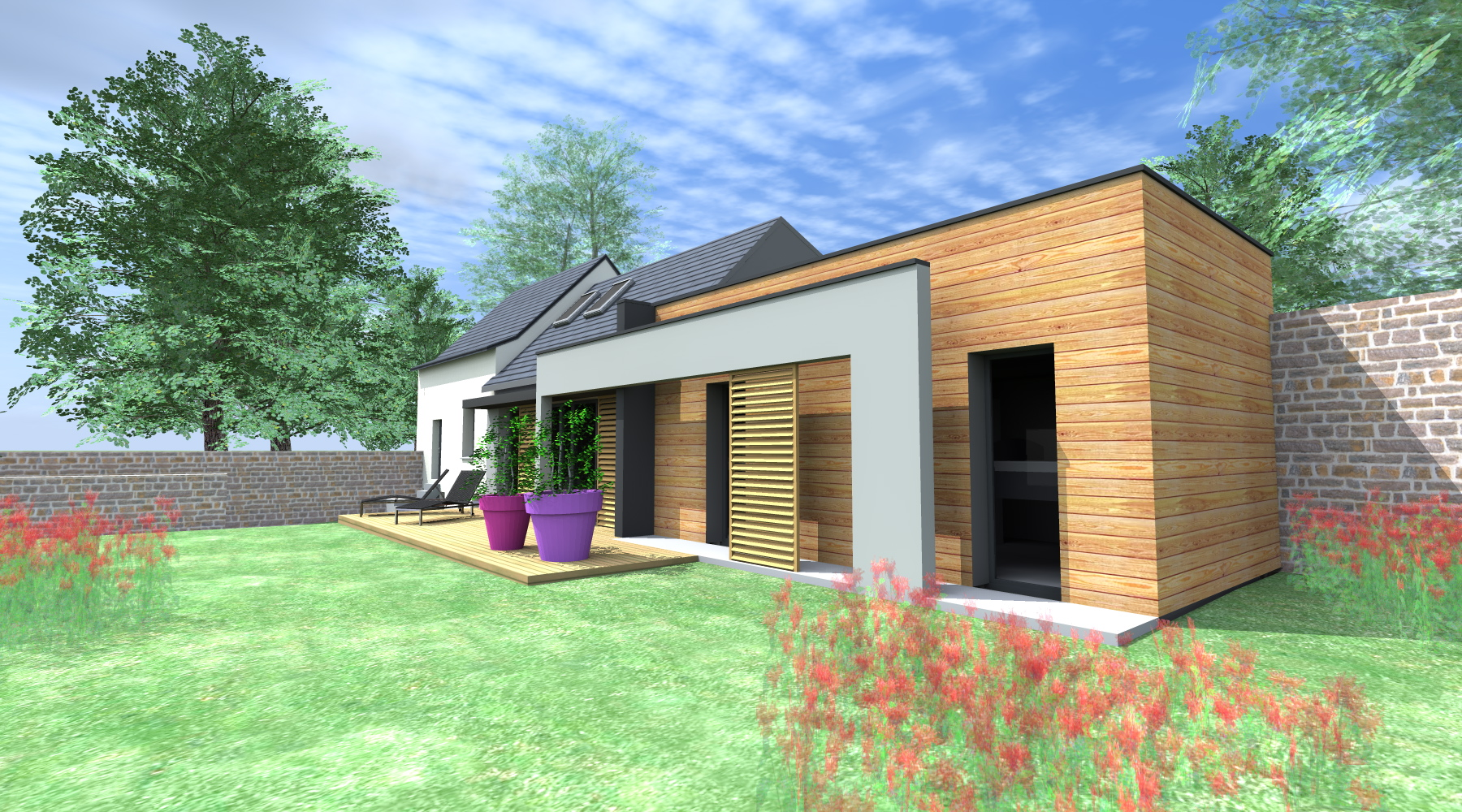 projet f d 1 2 vue architecte lise roturier rennes 35000. Black Bedroom Furniture Sets. Home Design Ideas
