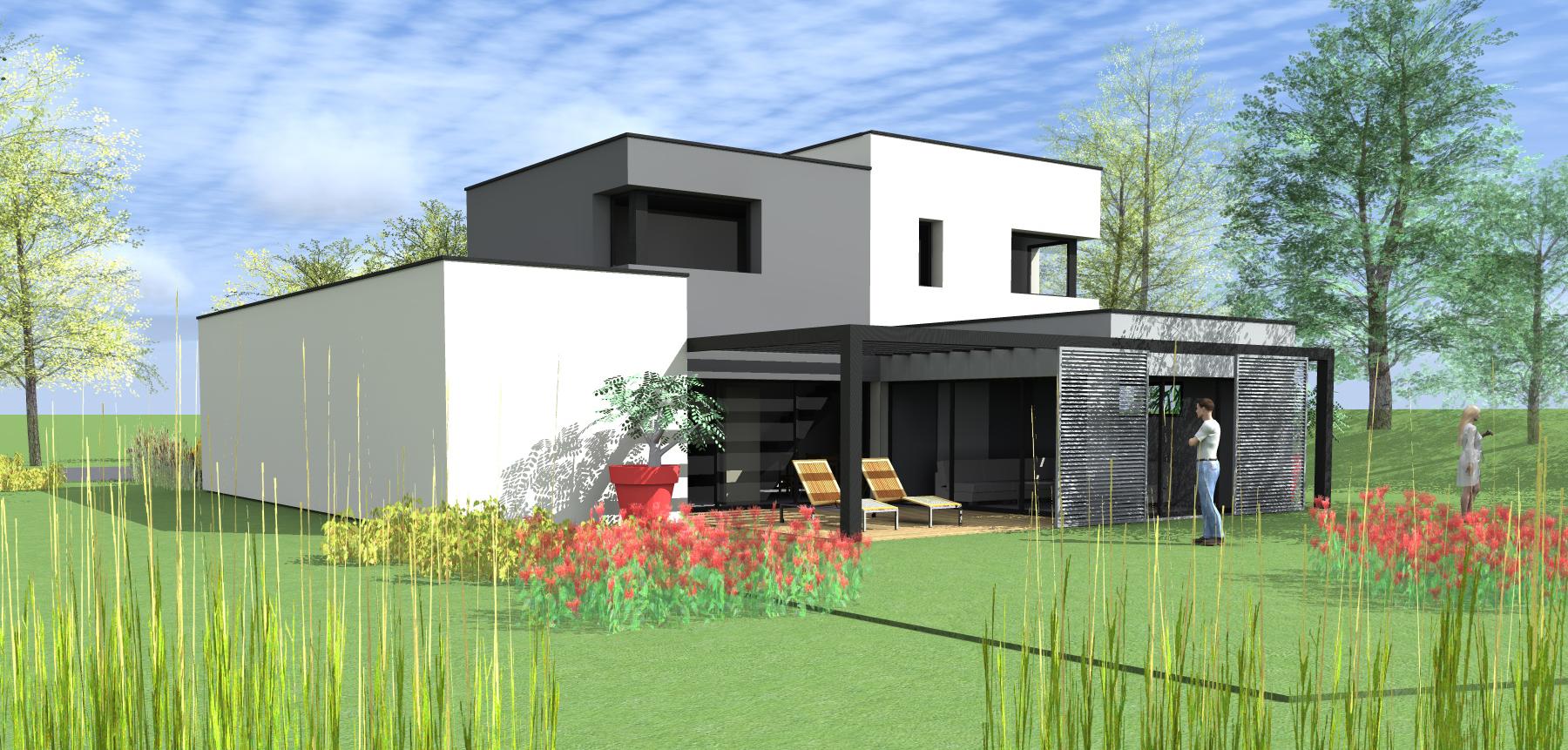 Projet b b 1 2 vue architecte lise roturier rennes for Maison moderne rennes