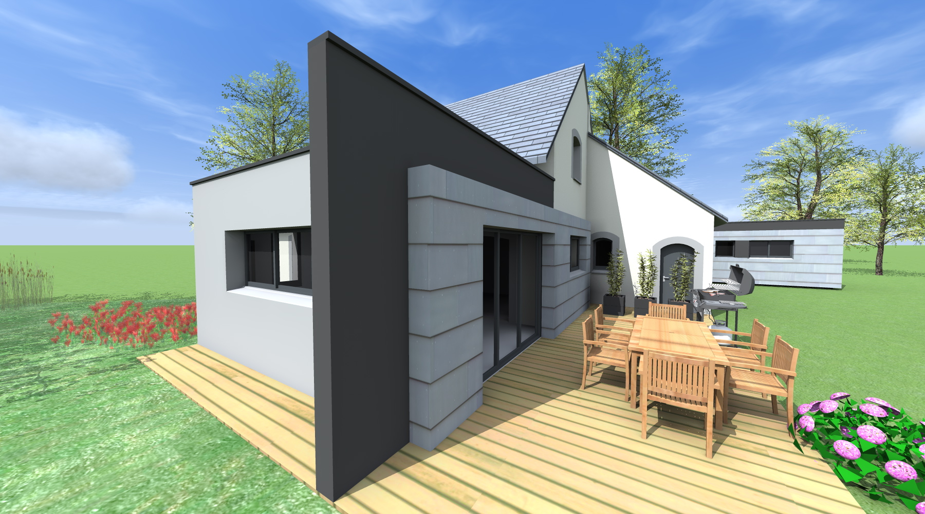 Projet h h 1 2 vue architecte lise roturier rennes for Recours architecte extension garage