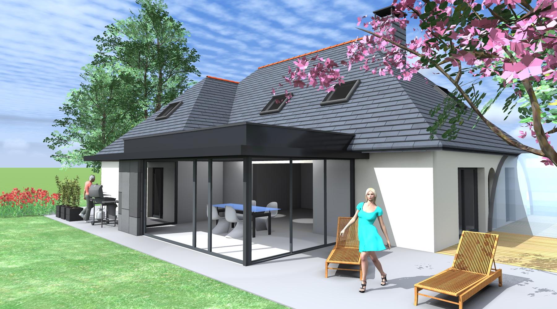 Extension maison 1 2 vue architecte lise roturier rennes 35000 - Agrandissement maison veranda ...