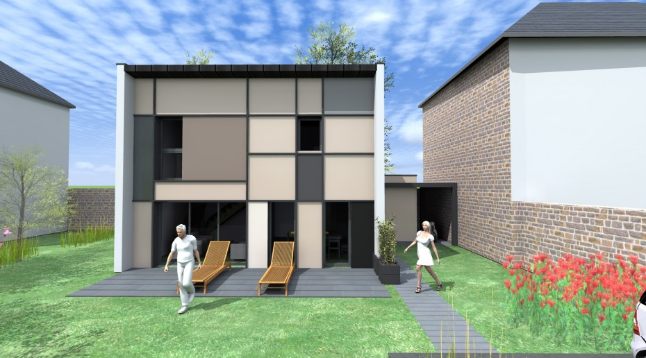 projet s s maison contemporaine rennes agence. Black Bedroom Furniture Sets. Home Design Ideas