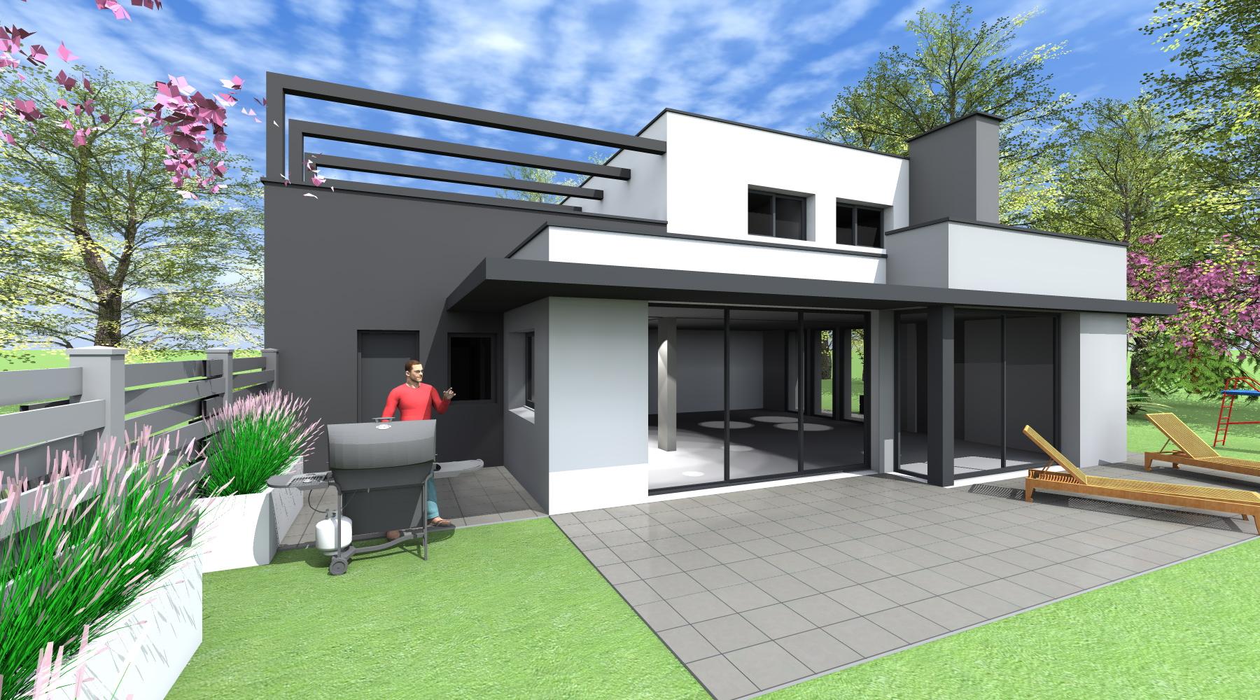 Maison neuve architecte rennes 1 2 vue lise roturier for Maison moderne rennes