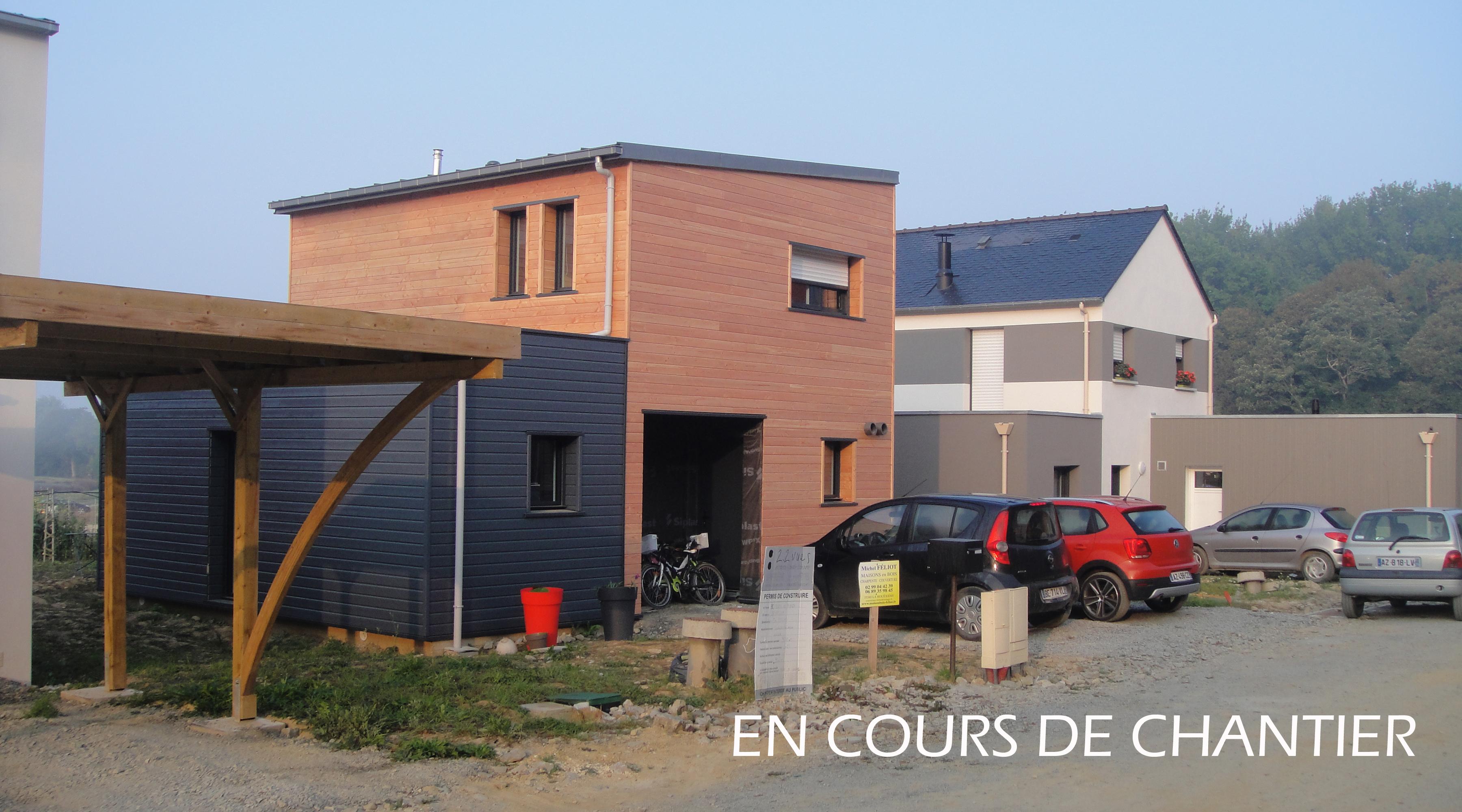 Maison bois 1 2 vue architecte lise roturier rennes 35000 for Architecte maison bois