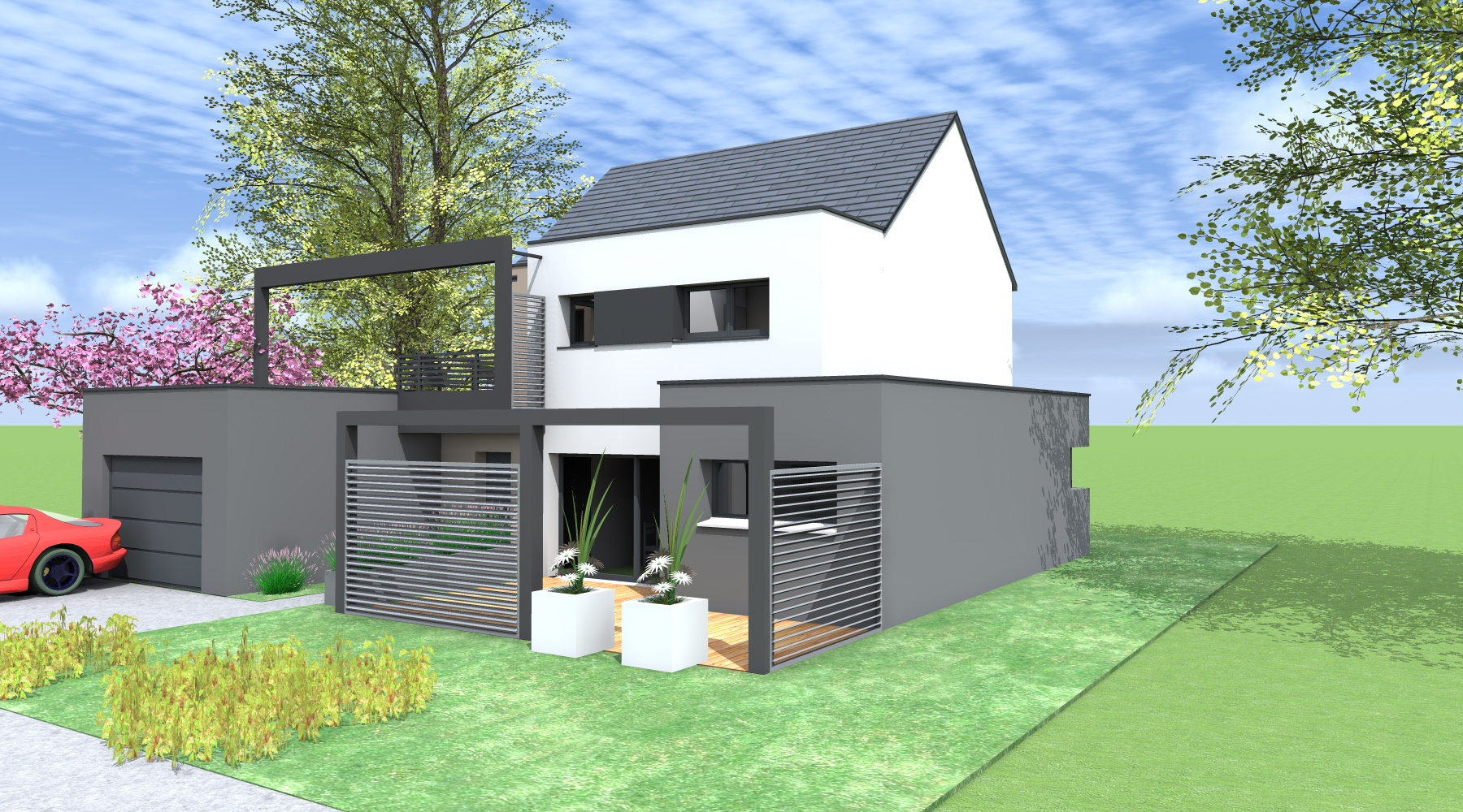 Maison d 39 architecte contemporaine st gr goire 35 for Maison neuve projet