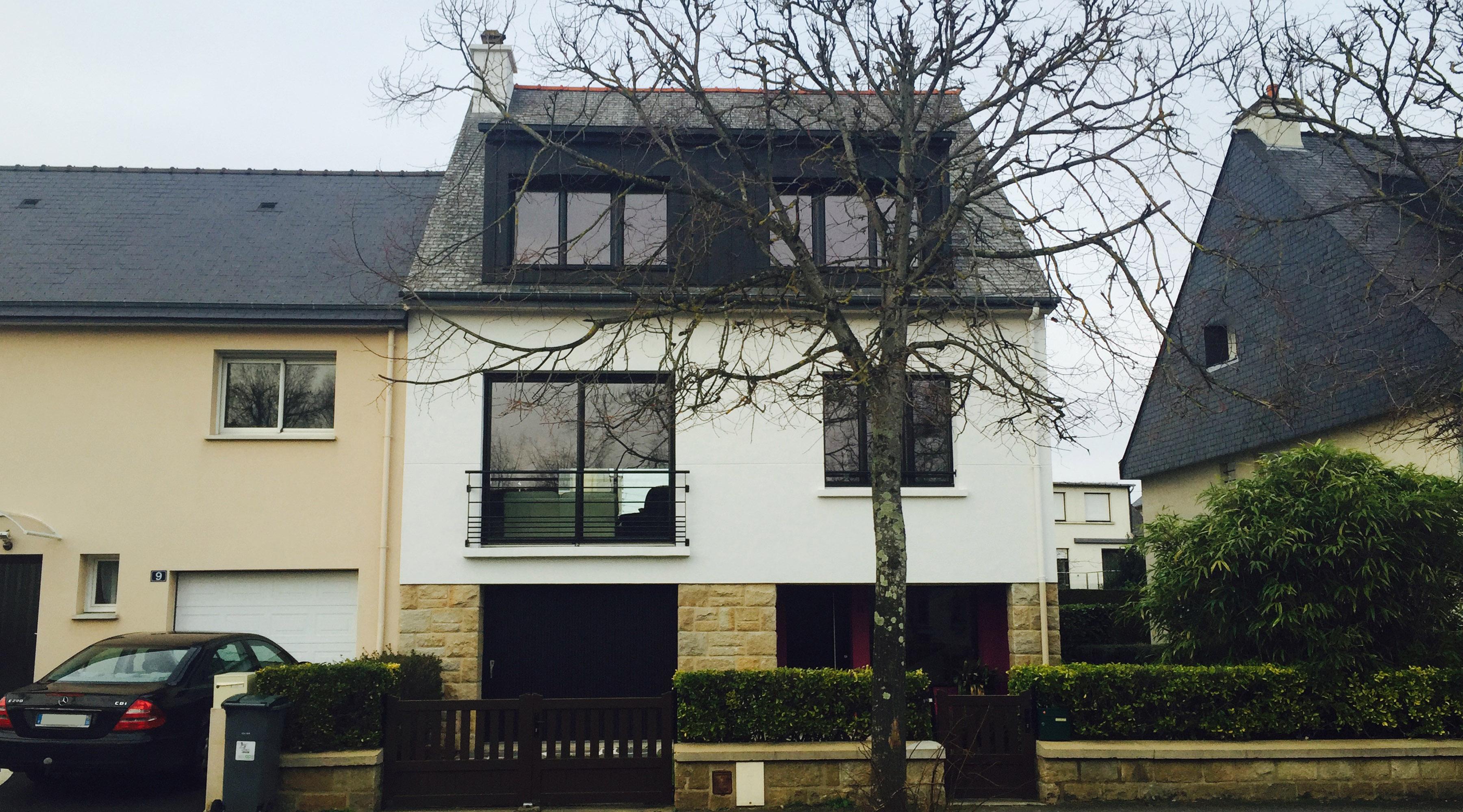 Projet r 1 2 vue architecte lise roturier rennes for Extension maison zone n