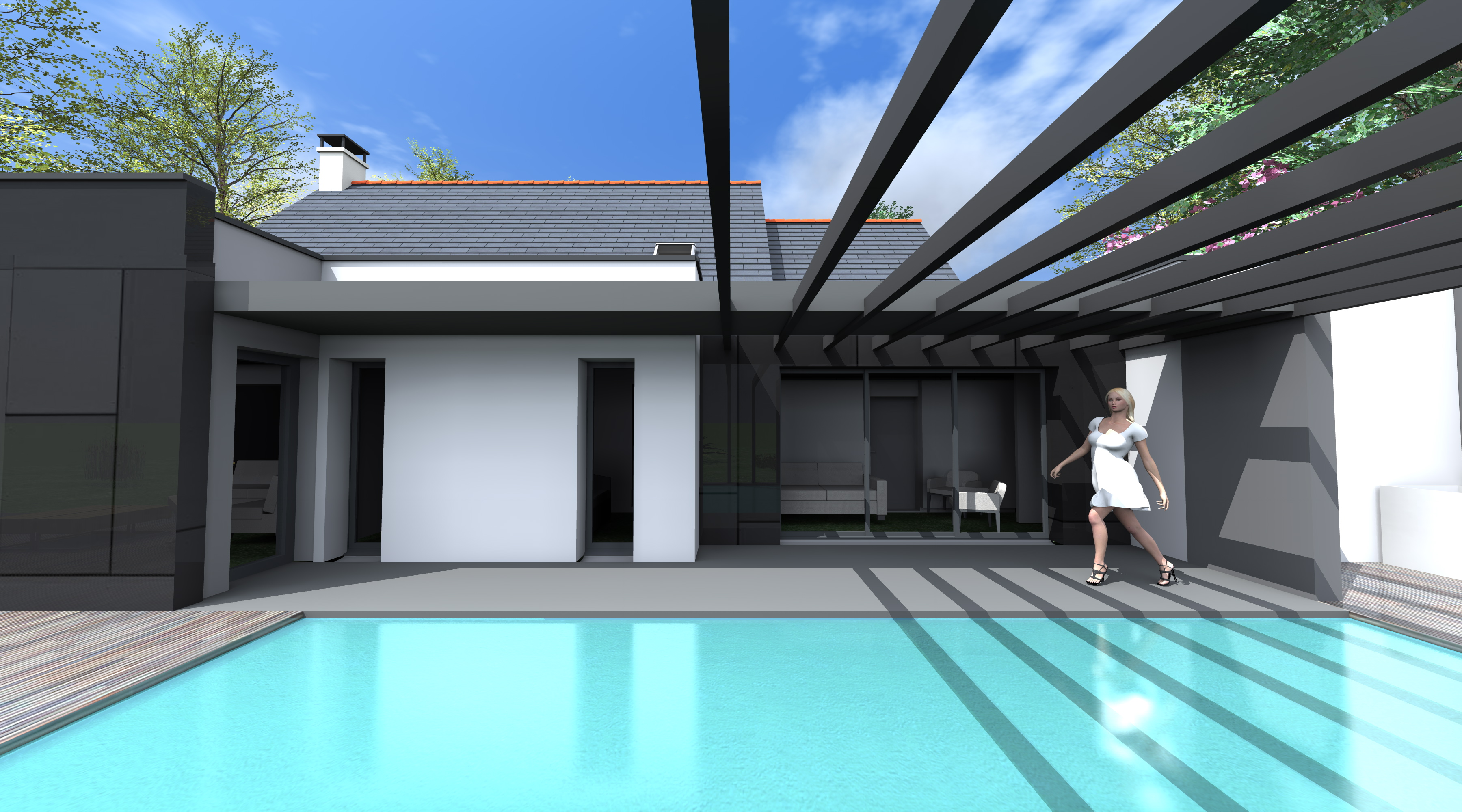 Projet k k 1 2 vue architecte lise roturier rennes for Piscine architecture
