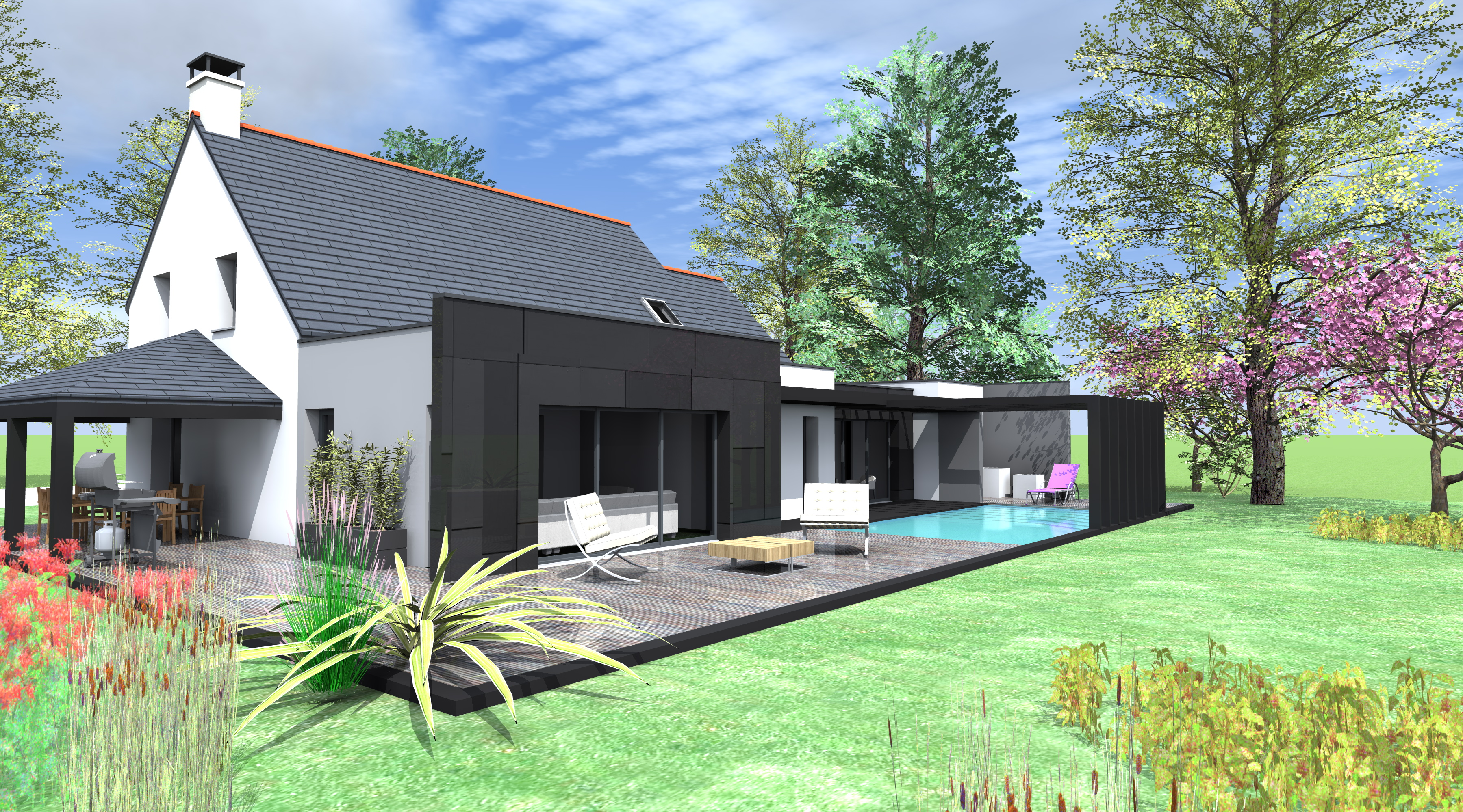 Projet k k 1 2 vue architecte lise roturier rennes for Extension contemporaine maison traditionnelle