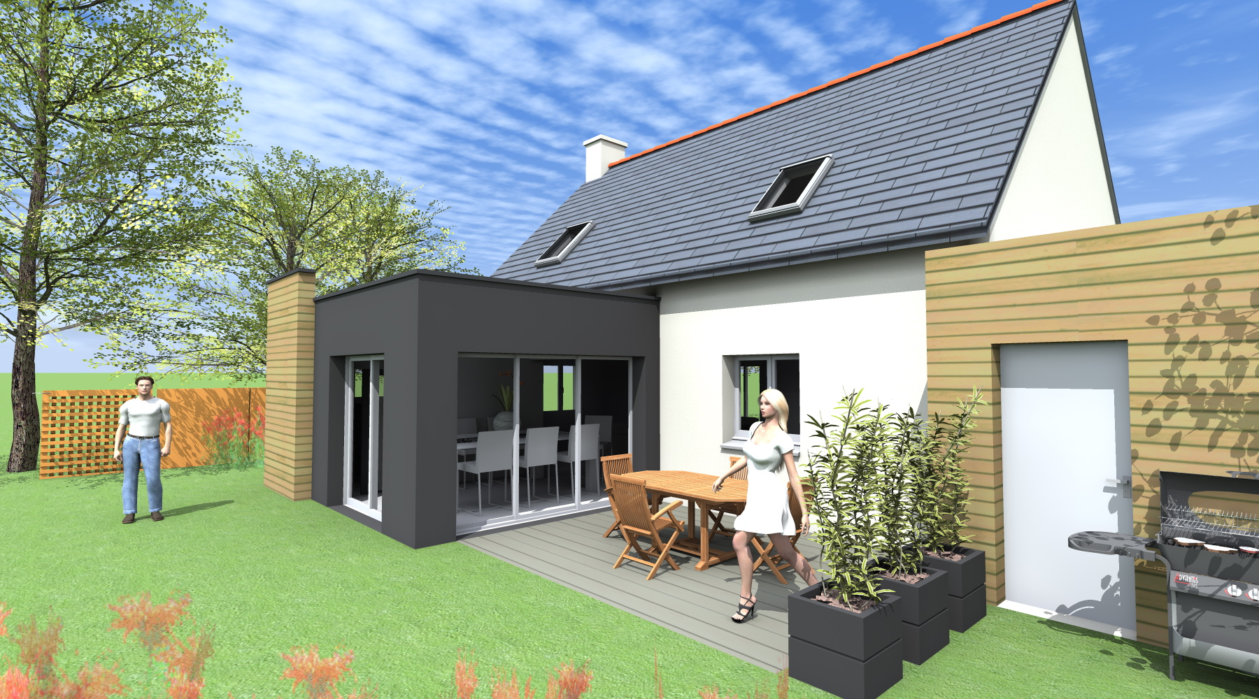 Projet ld ld 1 2 vue architecte lise roturier for Extension de maison rennes