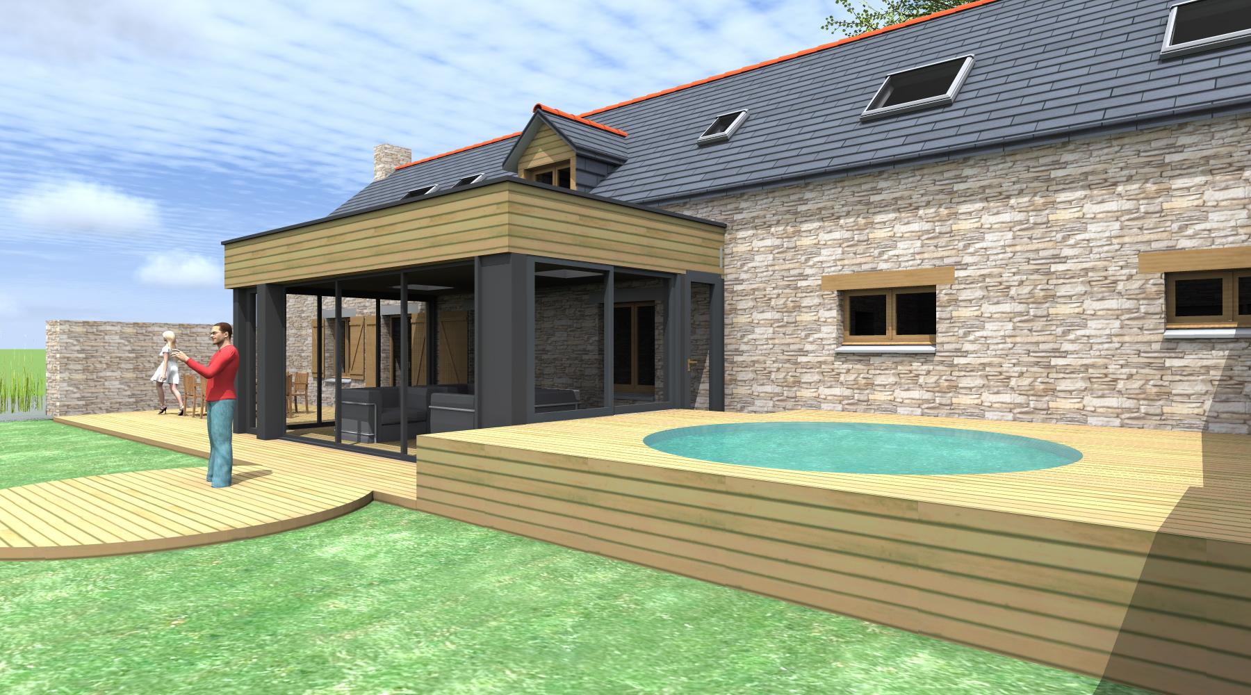 Projet p 1 2 vue architecte lise roturier rennes for Extension bois sur maison pierre