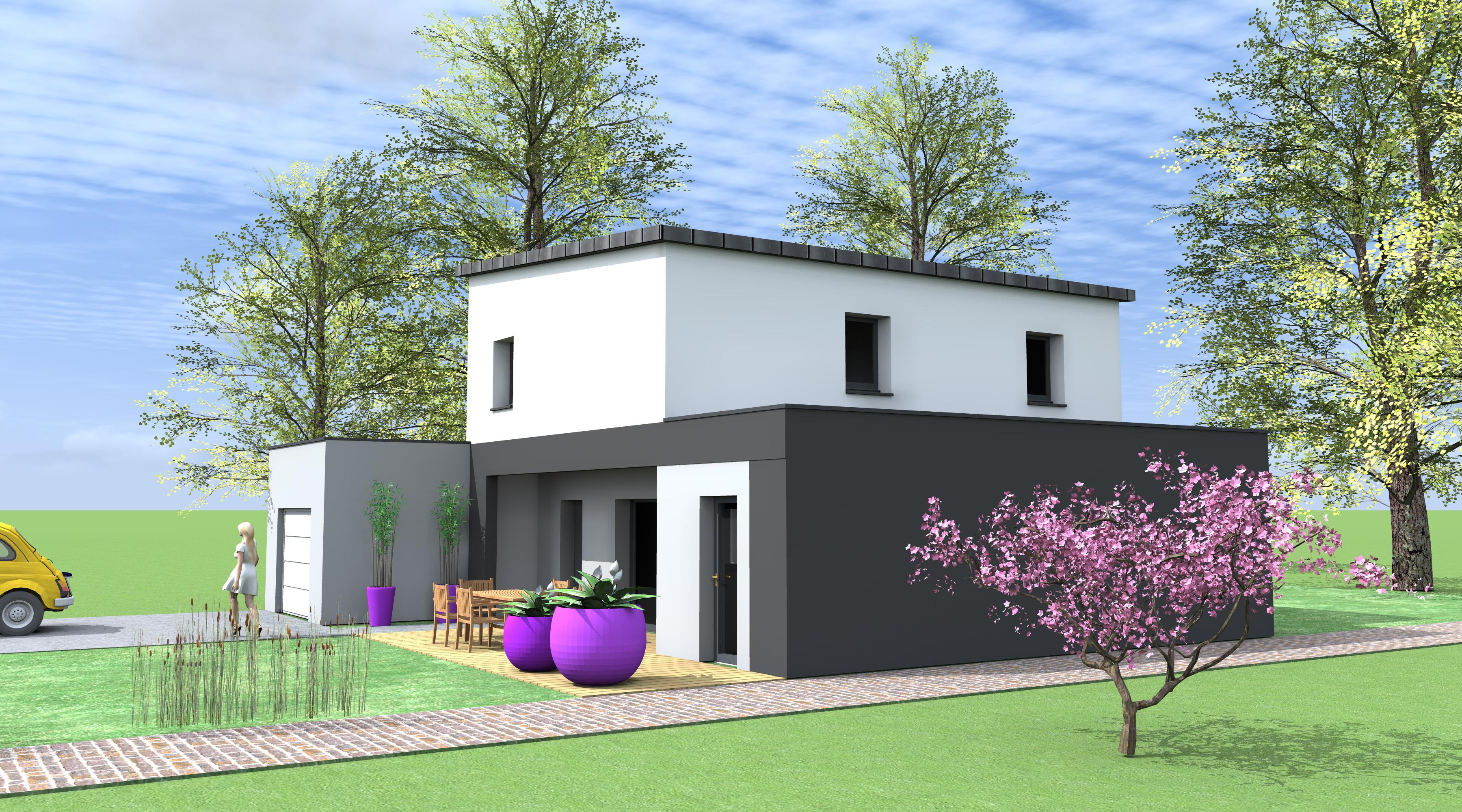 Projet h h 1 2 vue architecte lise roturier rennes for Projet maison moderne