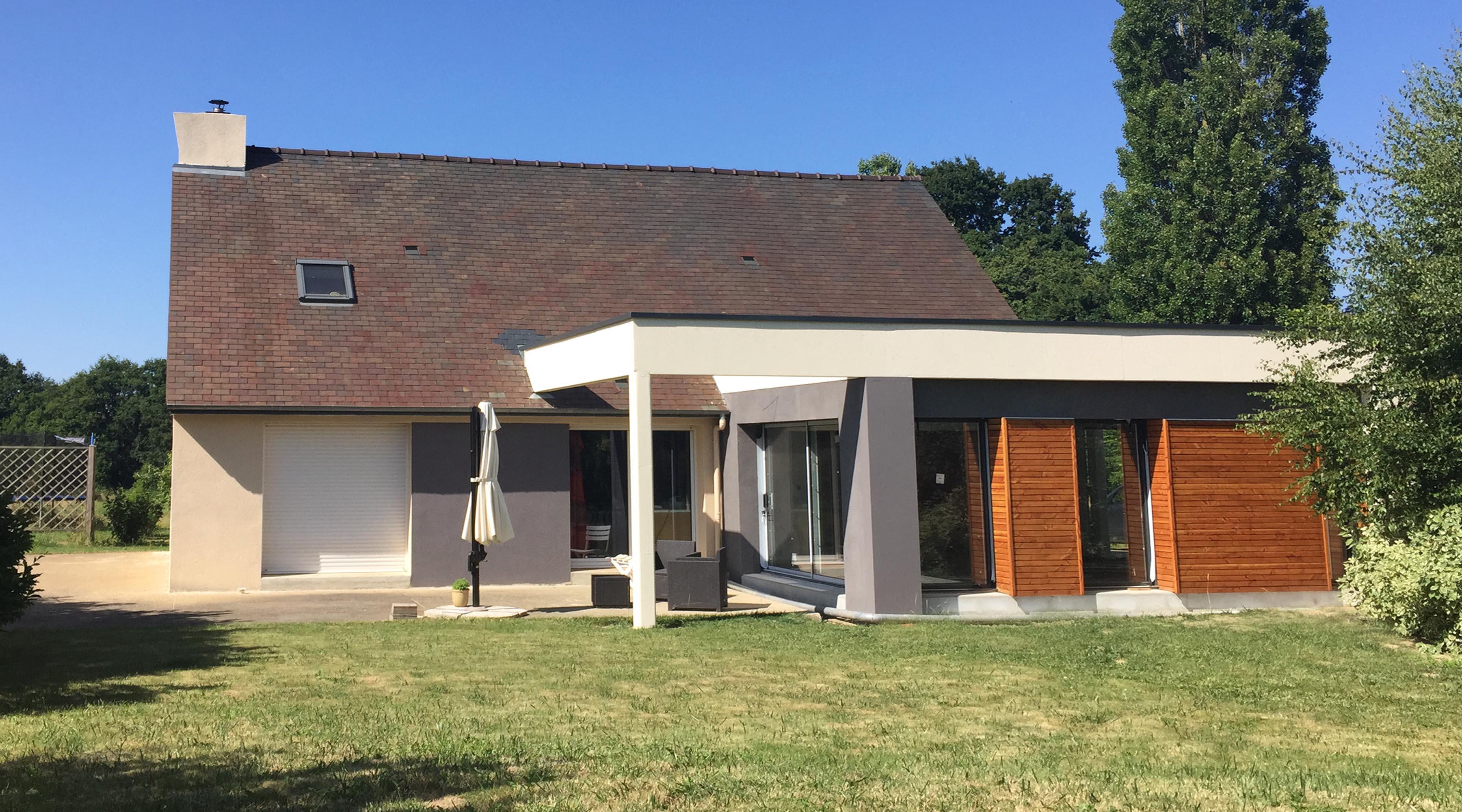 Projet m m 1 2 vue architecte lise roturier rennes for Agrandissement maison 59