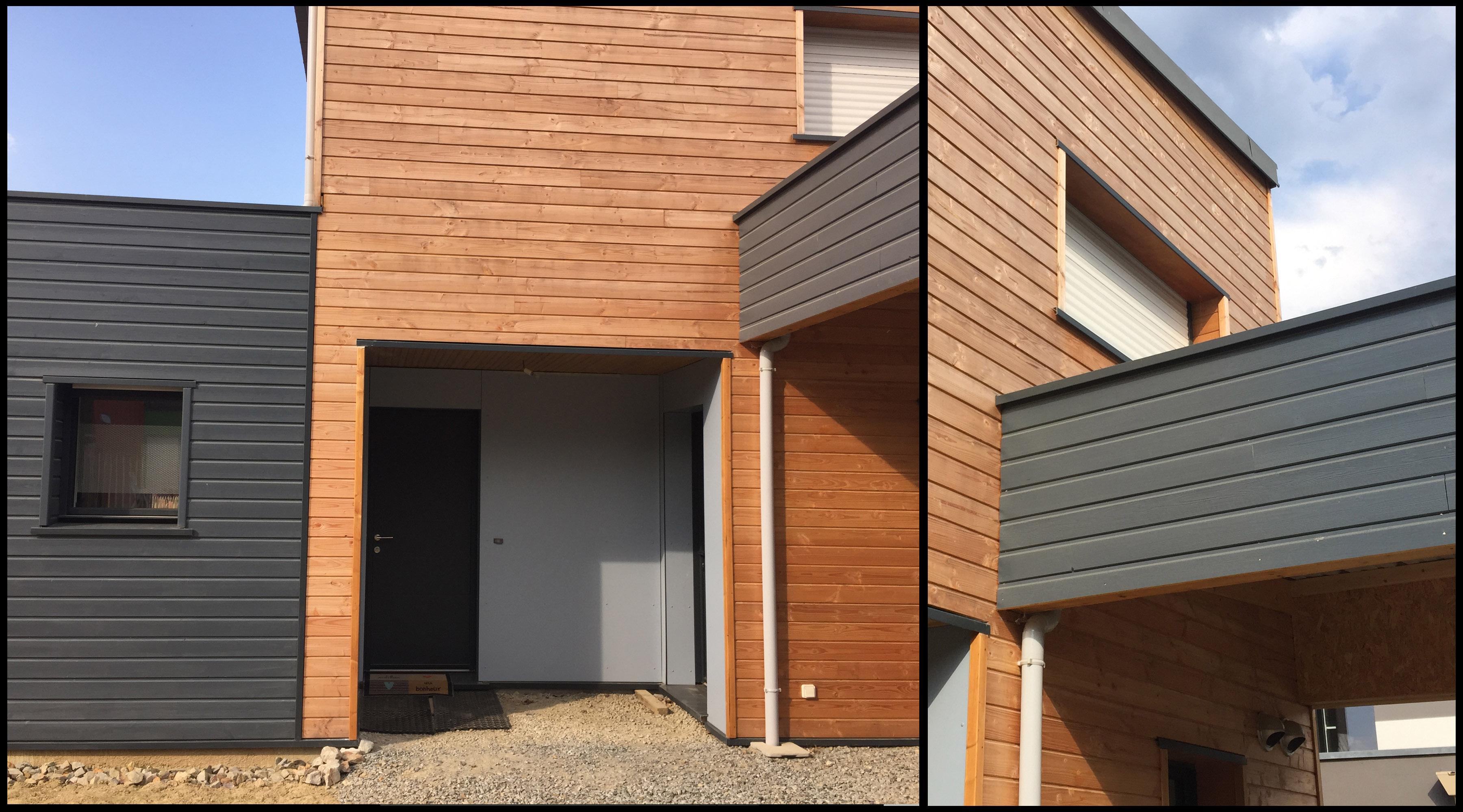 Maison bois 1 2 vue architecte lise roturier rennes 35000 for Construction bois 35