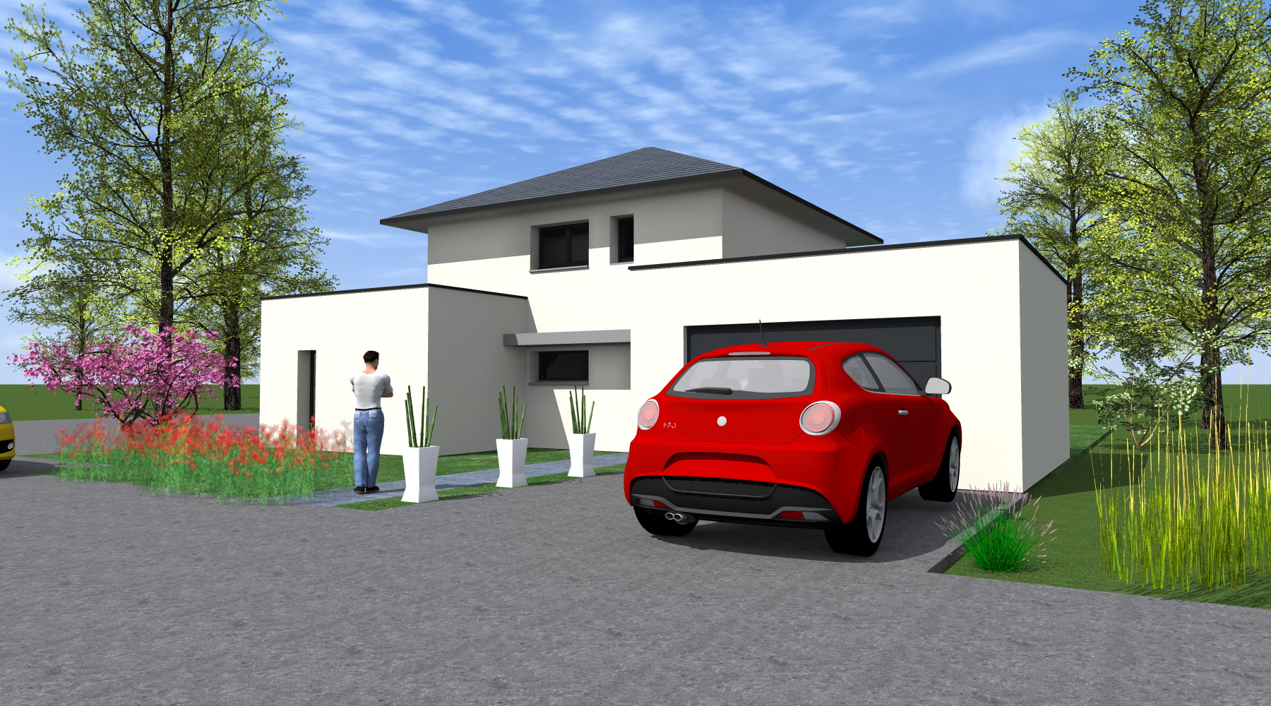 toiture garage 1 pente top carport simple toit plat pour voiture en bois trait with toiture. Black Bedroom Furniture Sets. Home Design Ideas