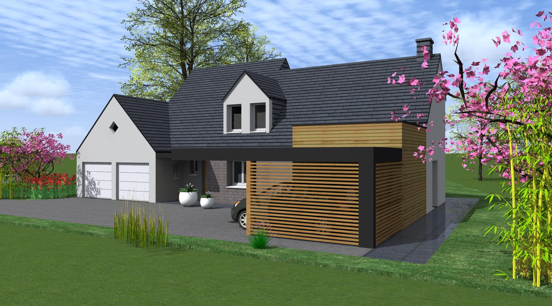 Projet g 1 2 vue architecte lise roturier rennes for Extension maison tva