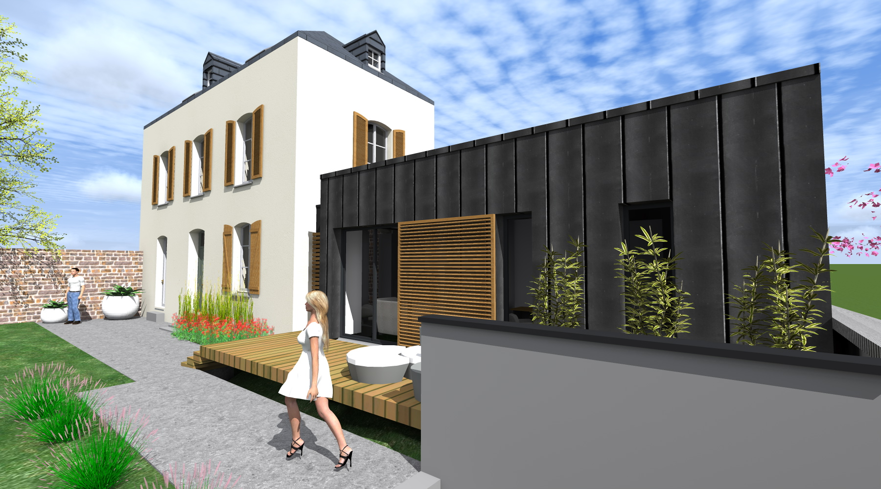Projet l l 1 2 vue architecte lise roturier rennes for Architecte batiment de france