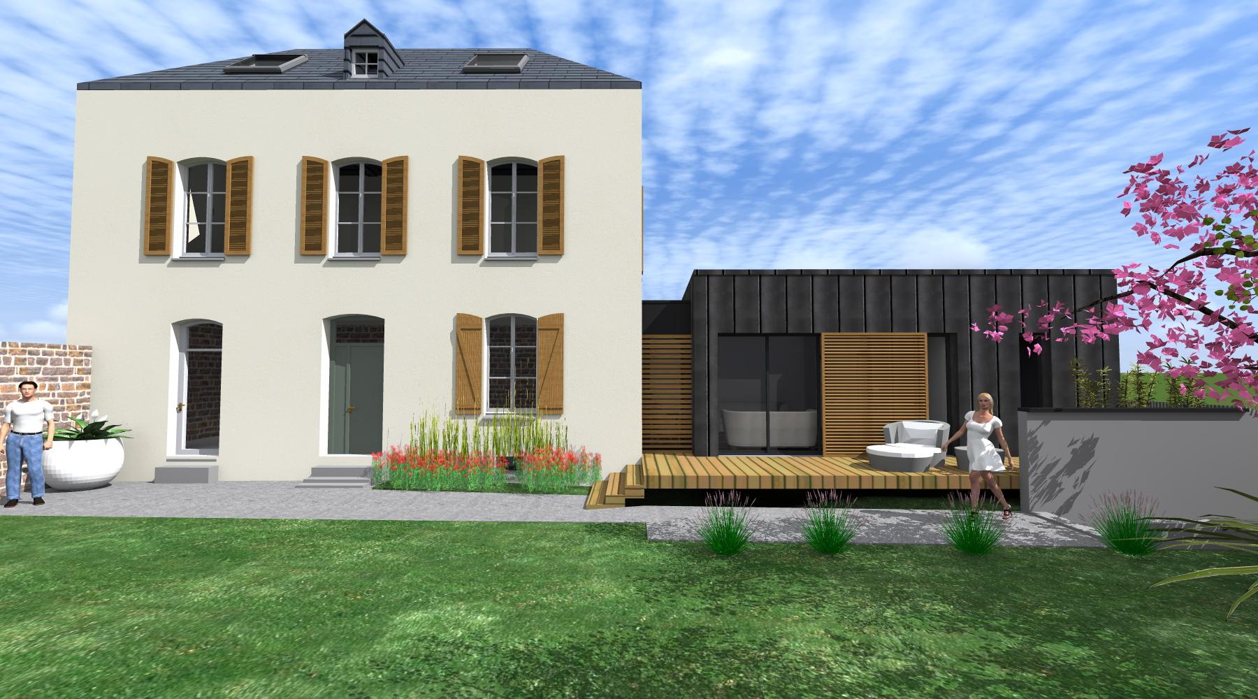 Projet l l 1 2 vue architecte lise roturier rennes for Agrandissement maison rennes