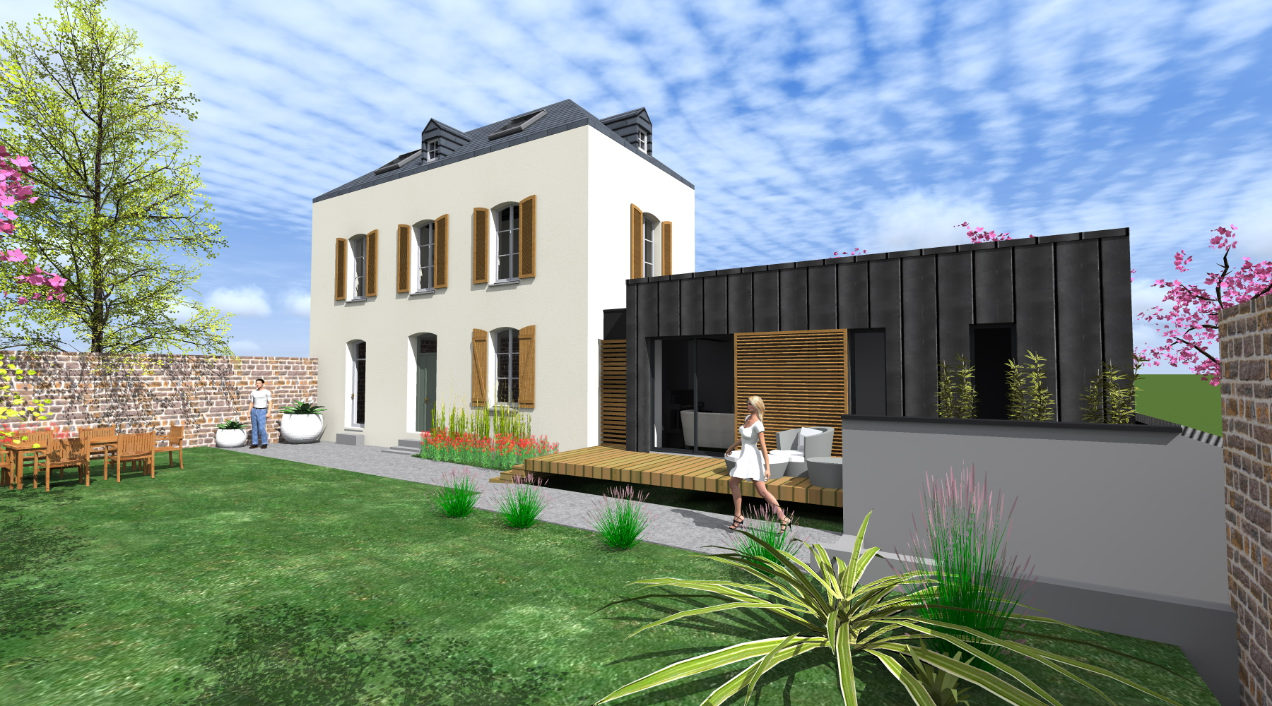 Projet l l 1 2 vue architecte lise roturier rennes for Cube extension maison