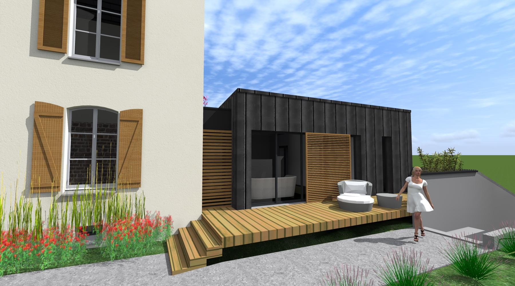 Projet l l 1 2 vue architecte lise roturier rennes for Architecte des batiments de france versailles