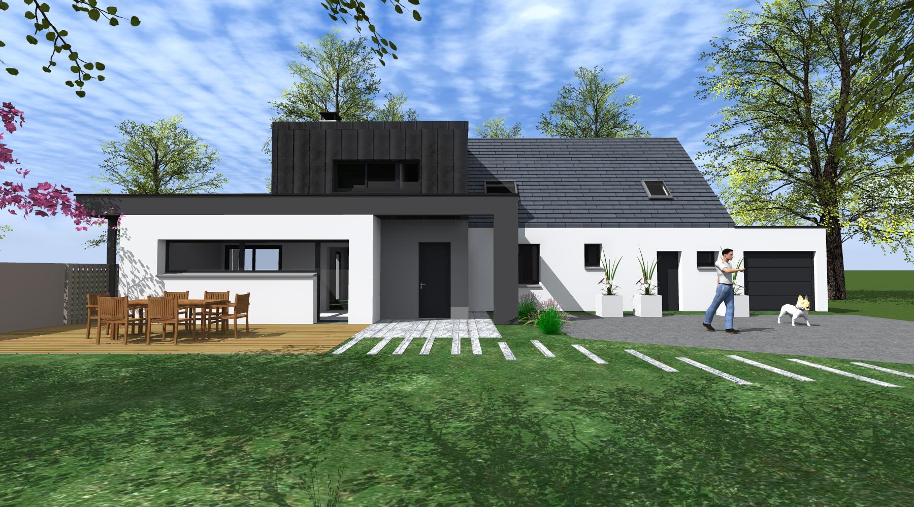 Projet g g 1 2 vue architecte lise roturier rennes for Agrandissement maison rennes