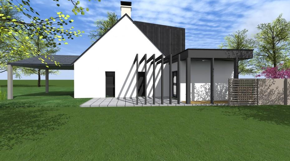 Extension maison architecte rennes 1 2 vue lise roturier for Extension maison zone n