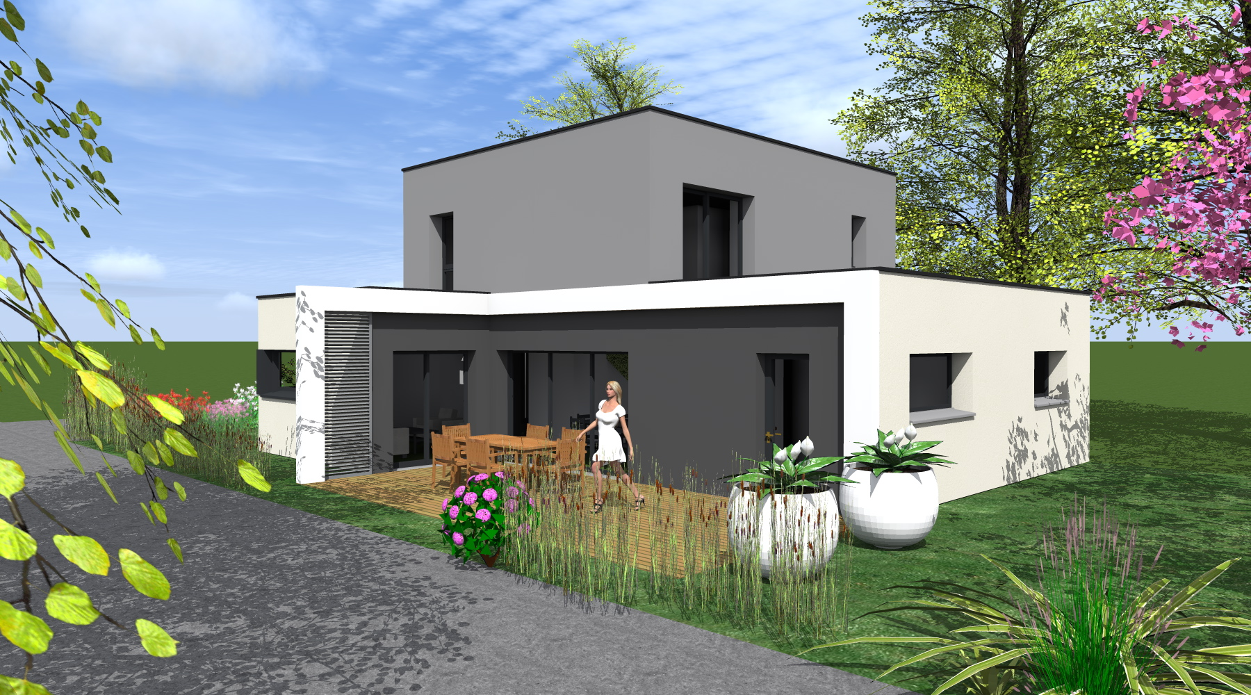 Maison contemporaine 1 2 vue architecte lise roturier rennes for Realisation toit plat