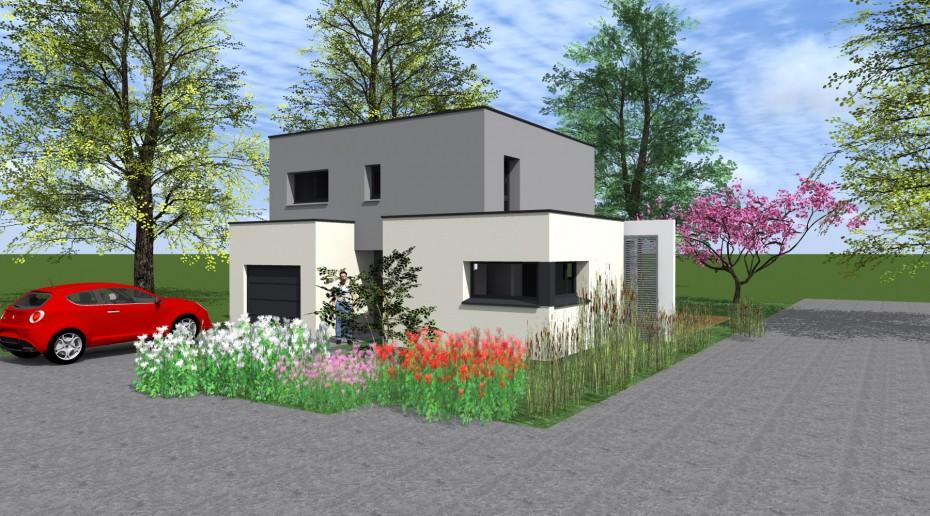 maison contemporaine 1 2 vue architecte lise roturier rennes. Black Bedroom Furniture Sets. Home Design Ideas