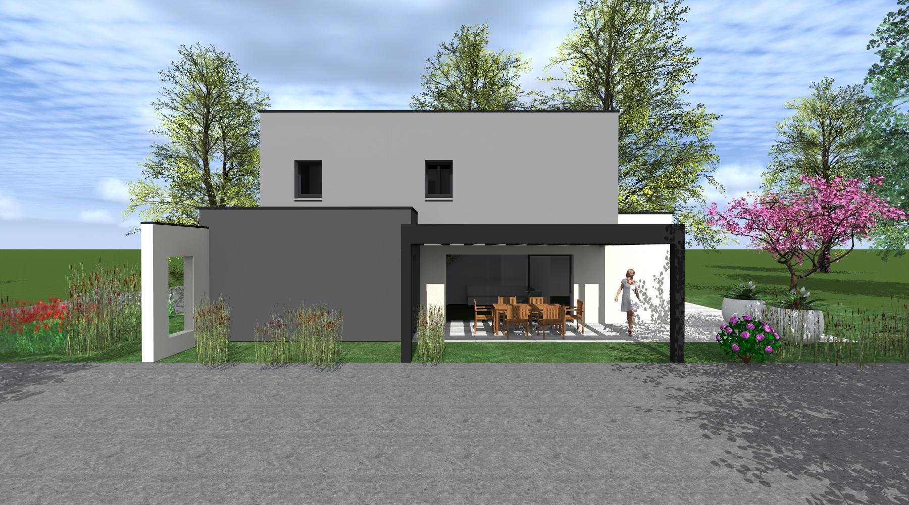 Projet m lg 1 2 vue architecte lise roturier for Maison moderne rennes
