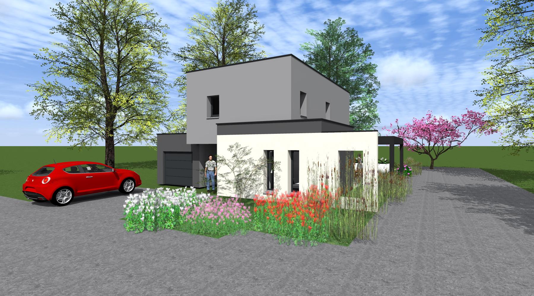 maison neuve rt 2012 1 2 vue architecte lise. Black Bedroom Furniture Sets. Home Design Ideas