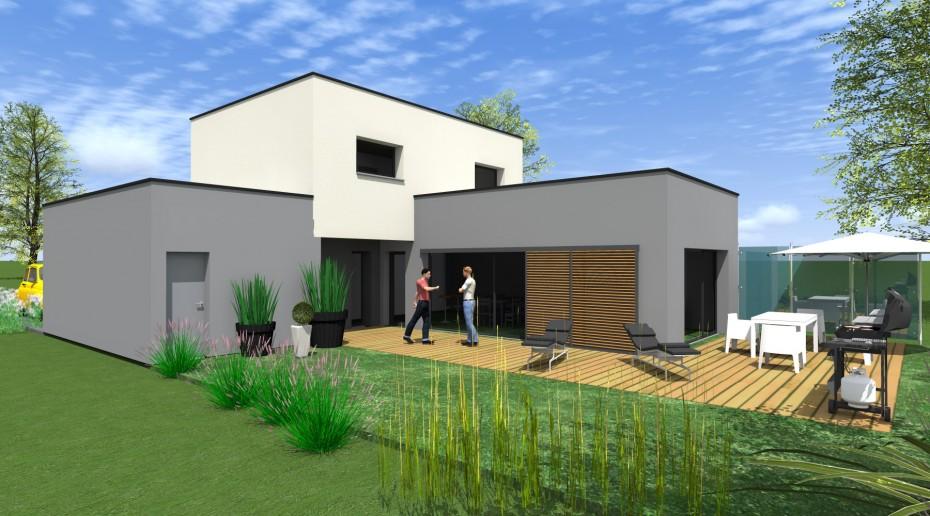 Projet d v 1 2 vue architecte lise roturier rennes for Maison moderne rennes