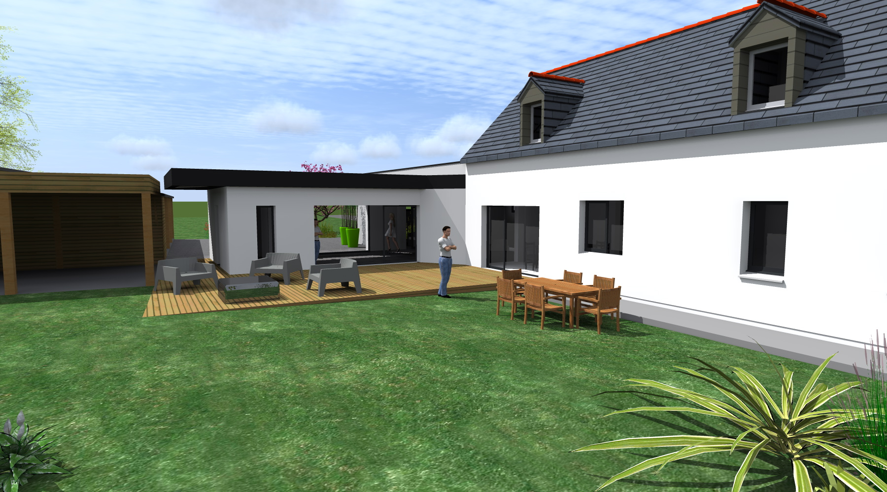 Projet c c 1 2 vue architecte lise roturier rennes for Recours architecte extension garage