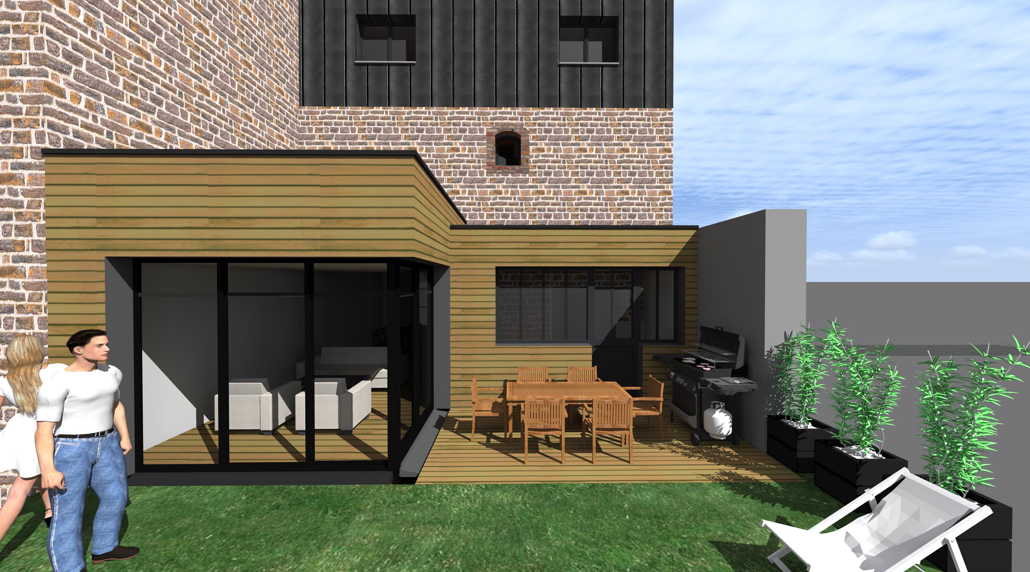 Projet gg r 1 2 vue architecte lise roturier for Agrandissement maison rennes