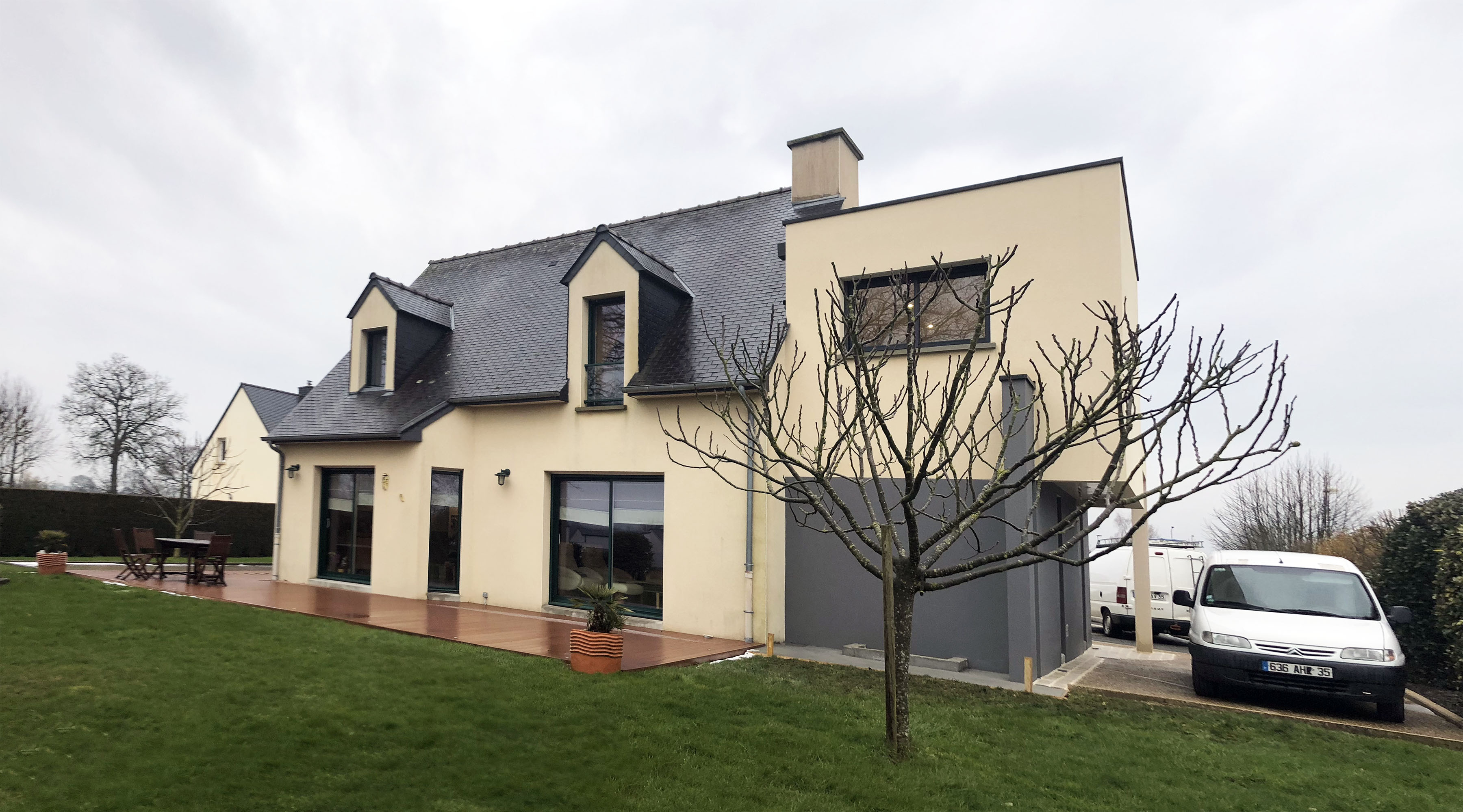 Projet oo sjv 1 2 vue architecte lise roturier for Maison moderne rennes