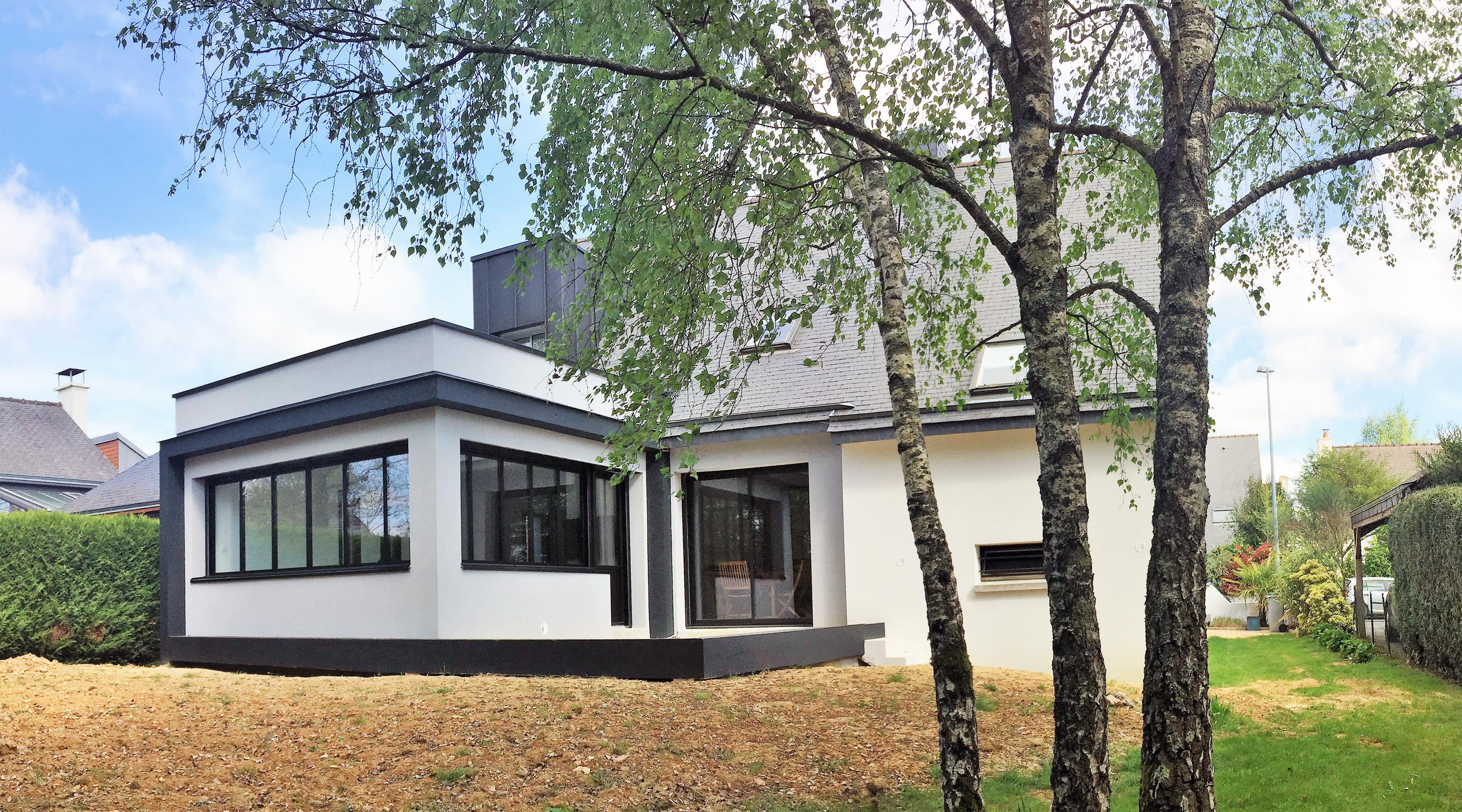 Extension maison architecte rennes 1 2 vue lise roturier for Agrandissement maison 90