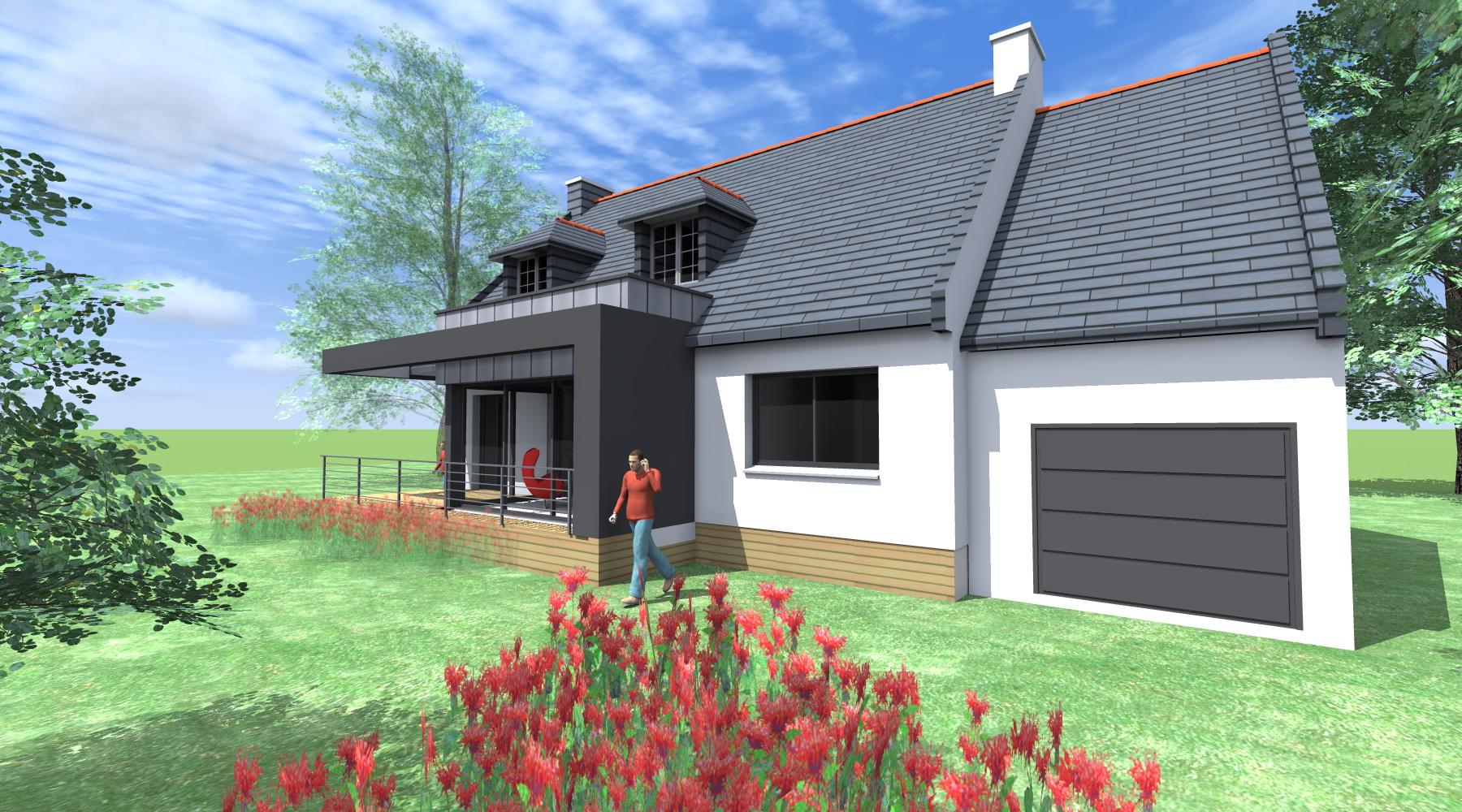 Agrandissement Maison Néo Bretonne agrandissement maison - 1.2 vue – architecte / lise roturier