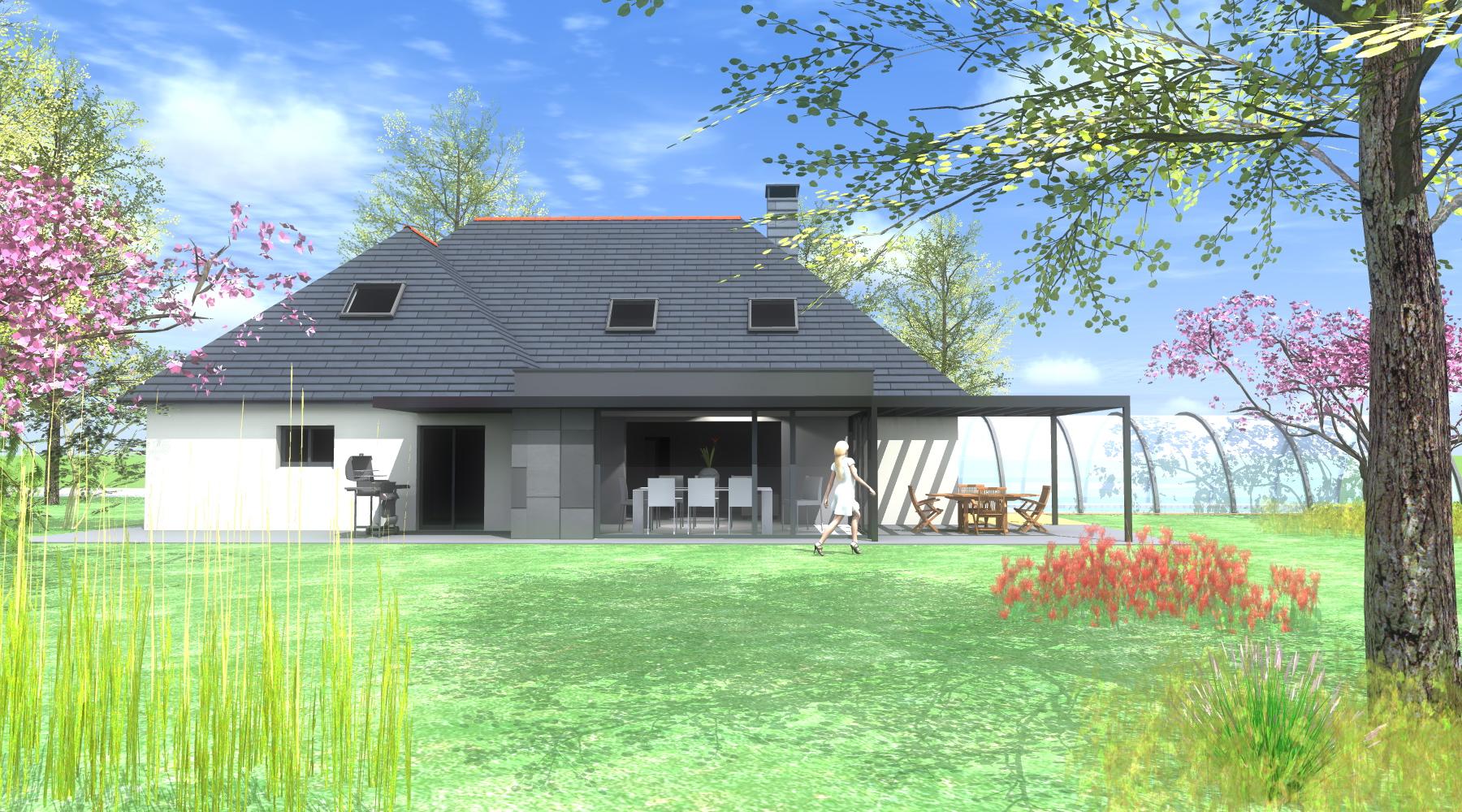 Maison Ossature Métallique Contemporaine extension maison - 1.2 vue – architecte / lise roturier