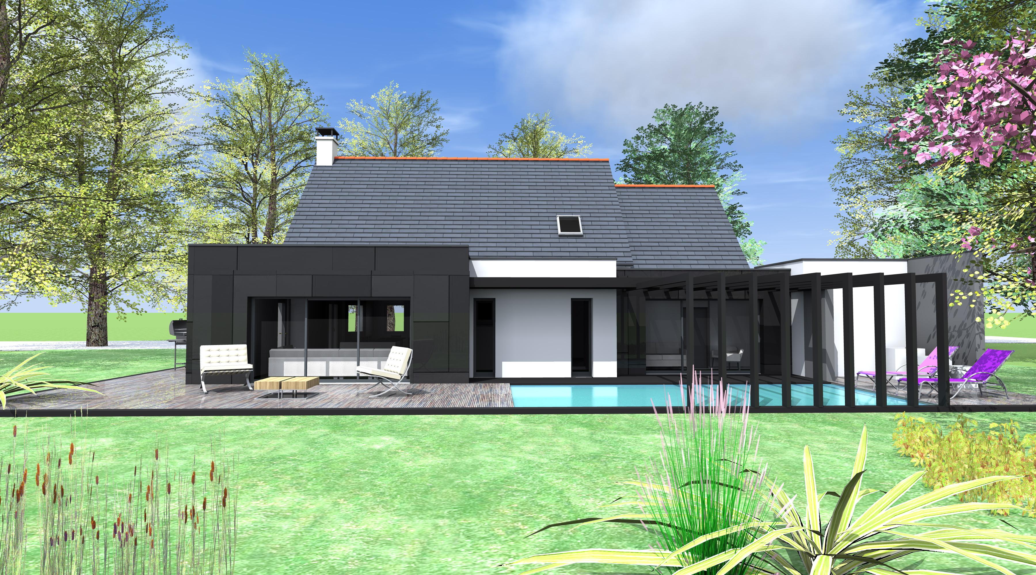 Agrandissement Maison Néo Bretonne extension piscine - 1.2 vue – architecte / lise roturier