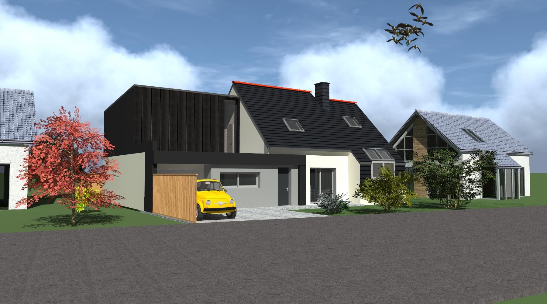 Constructeur De Maison Chartres extension rénovation maison - 1.2 vue – architecte - lise
